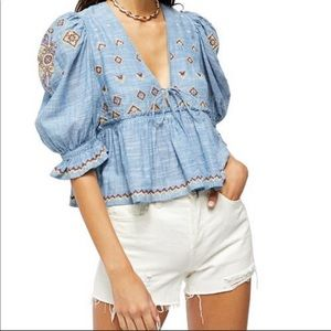 FREE PEOPLE Chambray Tallulah Embroidered Blouse